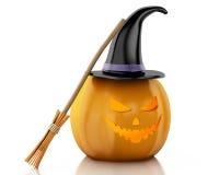 3d Halloween-pompoen met hoed en bezem Stock Foto