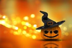 3D Halloween pumpkin on a bokeh lights background Stock Photography