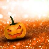 3D Halloween pumpkin on glittery background Royalty Free Stock Photos