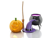 3d Halloween pumpkin with hat, broom and witch pot. Royalty Free Stock Image