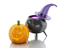 3d Halloween pumpkin with hat and witch pot. Stock Photography