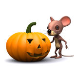 3d Halloween pumpkin mouse Stock Photo