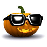 3d Halloween pumpkin wears sunglasses Royalty Free Stock Image