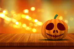 3D Halloween pumpkin on a wooden table with bokeh lights Royalty Free Stock Photography