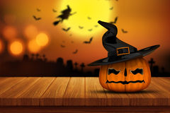 3D Halloween pumpkin on a wooden table with defocussed spooky im vector illustration