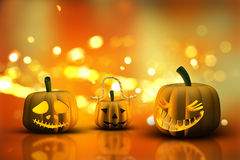 3D Halloween pumpkins on a bokeh lights background Royalty Free Stock Image