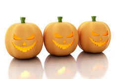 3d Halloween pumpkins over  white background. 3d renderer image. Three halloween pumpkins.  white background Royalty Free Stock Images