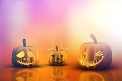 3D Halloween pumpkins Royalty Free Stock Images