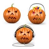 3D halloween pumpkins Royalty Free Stock Photo