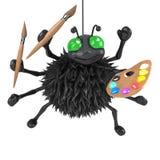 3d Halloween spider is an artist Stock Photos