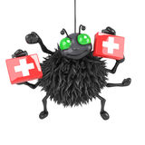 3d Halloween spider lends medical assistance. 3d render of a spider holding first aid medical kits Stock Photography