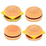 3d hamburgare, ostburgare, uppsättning av matmatlagningalternativ Arkivbilder