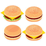 3d hamburger, cheeseburger, ensemble de nourriture faisant cuire des options Images stock