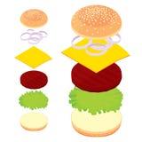 3d hamburger, cheeseburger, reeks ingrediënten paneert, vlees, kaas Stock Afbeelding