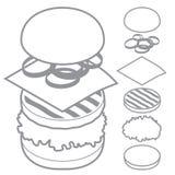 3d hamburger, cheeseburger, reeks van ingrediëntenbrood Royalty-vrije Stock Foto's