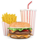 3D Hamburger with fries and drink Stock Images