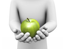3d hand big shiny green apple in hands royalty free stock photography
