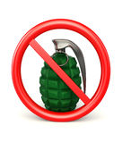 3d Hand bomb in forbidden sign  on white. 3d render of hand bomb in forbidden sign Stock Photos