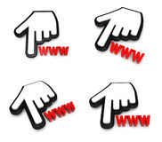 3D hand cursor and the WWW icon. 3D Icon Design Series. Royalty Free Stock Photos