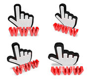 3D hand cursor and the WWW icon. 3D Icon Design Series. Royalty Free Stock Photography