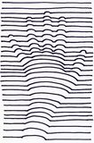 3D hand drawing. Striped. 3D hand drawing, black and white stripes Stock Photos