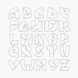 2d hand drawn alphabet letters from A to Z in simple outline style. Decorative calligraphy font, good for writing quotes and title. S. Parts of letters overlap Royalty Free Stock Image