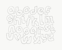 2d hand drawn alphabet letters from A to Z in simple rounded style. Decorative calligraphy font, good for writing quotes and title. S. Parts of letters overlap Royalty Free Stock Photos