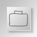 3D hand drawn briefcase Button Icon Concept Royalty Free Stock Images