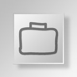 3D hand drawn briefcase Button Icon Concept Royalty Free Stock Photo