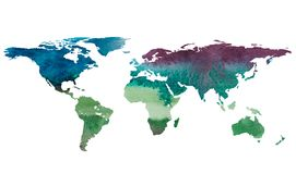 2d hand drawn illustration of world map. Color gradiented watercolor image of isolated earth planet. Colorful continents. White background Royalty Free Stock Photos