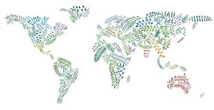 Watercolor plants in shape of world map. 2d hand drawn illustration of world map. Earth continents from watercolor leaves and branches. Colorful continents Royalty Free Stock Image