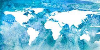 2d hand drawn illustration of world ocean. 2d hand drawn illustration of world map. Turquoise blue watercolor world ocean with isolated earth continents Stock Photos
