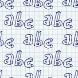 Hand drawn Abc seamless pattern. 3d hand drawn letters seamless pattern. Vector background illustration in blue over squared notebook sheet royalty free illustration