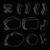 3D hand drawn notations and dialog boxes in black background. Stock Photography