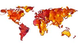 2d hand drawn watercolor illustration of world map. 2d hand drawn illustration of world map. Red yellow splash watercolor isolated earth planet. Sketch and Royalty Free Stock Photography