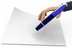 3d hand with fountain pen concept Royalty Free Stock Photo