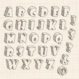 3D hand getrokken brief in in hoofdletters Vector Illustratie
