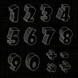 3D hand getrokken brief op zwarte achtergrond Vector Illustratie