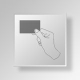 3D Hand Holding Business Card Button Icon Concept Royalty Free Stock Photo