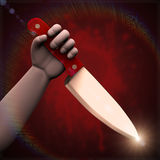 3d hand with large knife. 3d illustration of hand holding large knife ready to stab on bloody spot splash red dark background Stock Photography