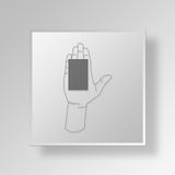 3D Hand Palm Card Button Icon Concept Royalty Free Stock Image