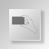 3D Hand Showing Card Button Icon Concept Royalty Free Stock Photo
