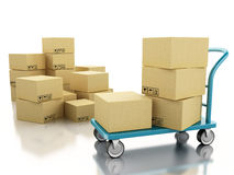 3D hand truck with boxes. 3D Illustration. Delivery hand truck with cardboard boxes.  background Royalty Free Stock Photos