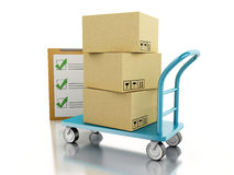 3D Hand truck with boxes. 3D Ilustration. Delivery hand truck with cardboard boxes.  white background Stock Photo