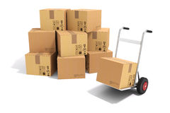 3d hand truck and cardboard boxes. On white background Royalty Free Stock Image