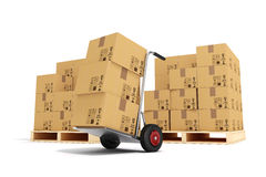 3d hand truck and cardboard boxes. On white background Royalty Free Stock Photo