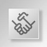 3D Handshake Button Icon Concept Stock Images