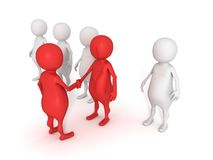 3d handshake men individual leader out crowd Stock Photography