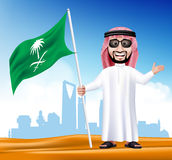 3D Handsome Saudi Arab Man in Traditional Dress Stock Photo