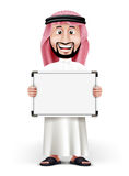 3D Handsome Saudi Arab Man in Traditional Dress. Stand with Blank White Board with Space for Text or Business Messages while Smiling and Talking. Editable Stock Photo